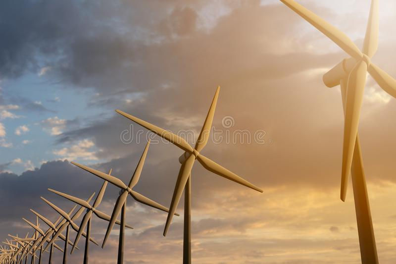 3D rendering of windmills producing engergy in the evening. 3D rendering of windmills in the sunset sky. Durable energy concept stock illustration