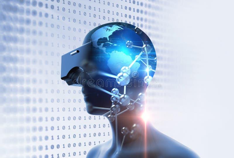 3d rendering wirtualna istota ludzka w VR słuchawki na futurystycznej technologii ilustracji