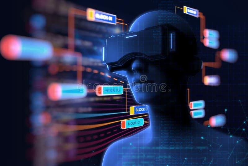 3d rendering wirtualna istota ludzka w VR słuchawki na futurystycznym ilustracja wektor