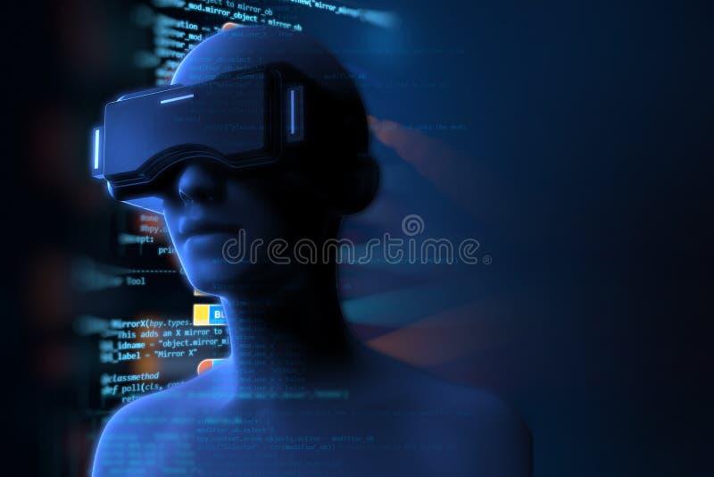 3d rendering wirtualna istota ludzka w VR słuchawki na futurystycznym royalty ilustracja