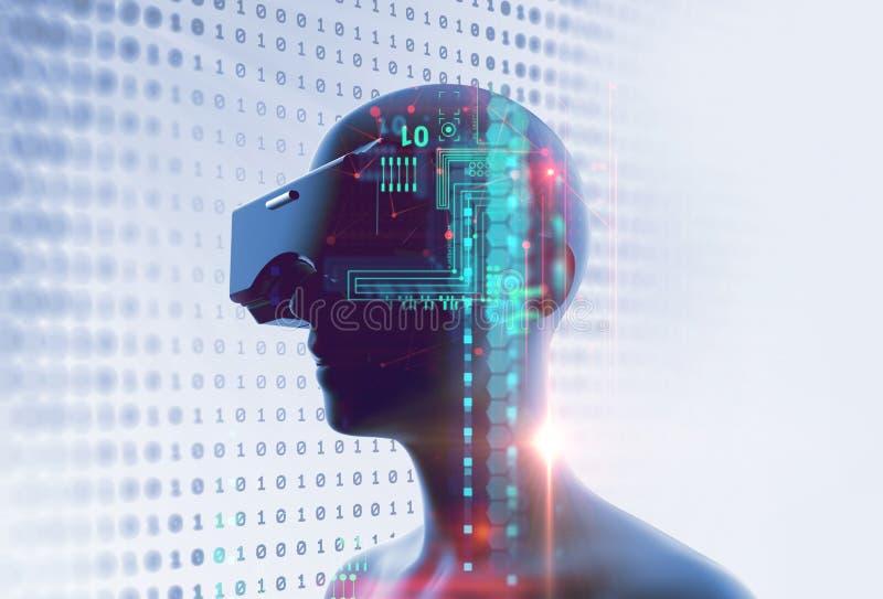 3d rendering wirtualna istota ludzka w VR słuchawki na futurystycznym techno royalty ilustracja
