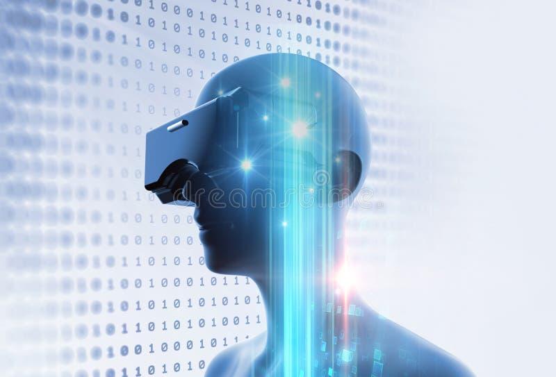 3d rendering wirtualna istota ludzka w VR słuchawki na futurystycznym techno ilustracji