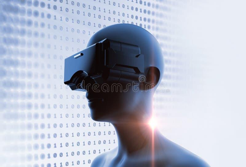 3d rendering wirtualna istota ludzka w VR słuchawki na futurystycznym techno ilustracja wektor