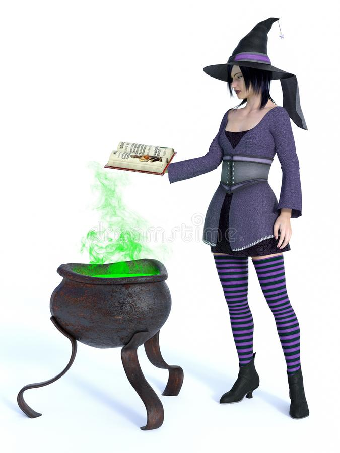 3D rendering of witch with cauldron. 3D rendering of a cute pin-up styled witch dressed in purple clothes holding a spell book. A big cauldron with green smoke stock illustration