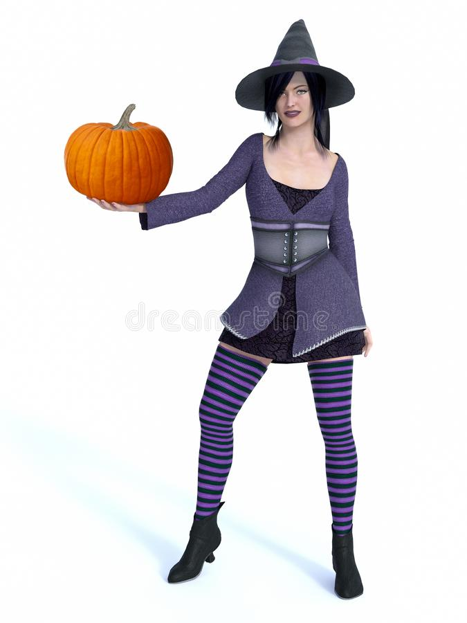 3D rendering of witch holding pumpkin. 3D rendering of a cute pin-up witch dressed in purple clothes holding pumpkin. White background royalty free illustration