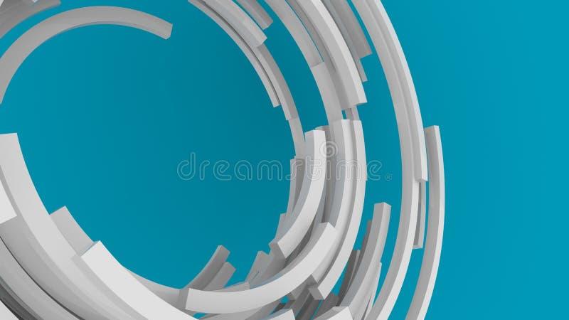3D-rendering, witte abstracte ronde vormen achtergrond Kleurrijke achtergrond royalty-vrije illustratie