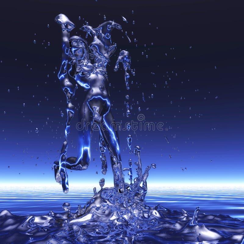 3D Rendering of a Woman in a Shower. Digital 3D Rendering of a Woman in a Shower