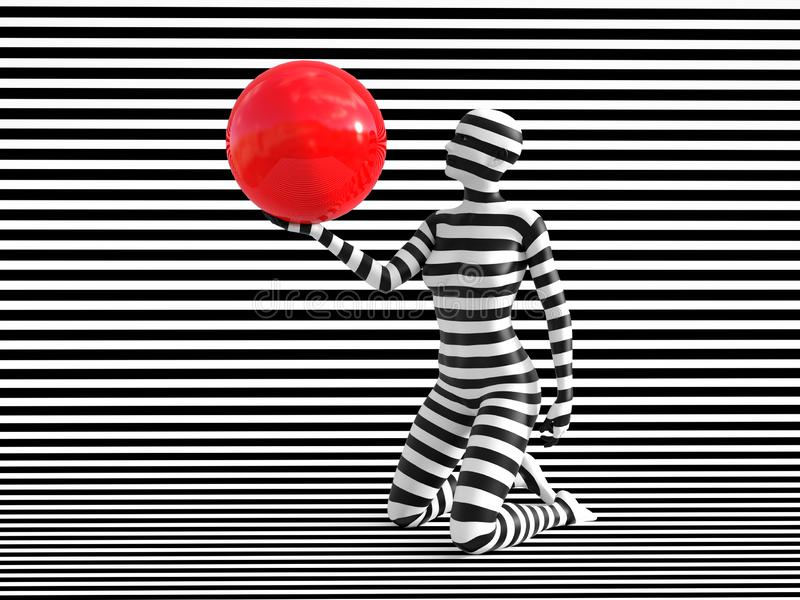 3D rendering of person breaking the pattern. 3D rendering of a woman standing on her knees on a black and white striped background, holding a red ball, trying to vector illustration