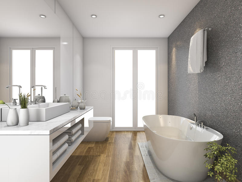 Download 3d rendering wood bathroom and toilet with daylight from window stock illustration illustration of