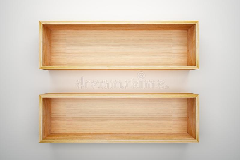 Shelf box on white wall decorated stock illustration