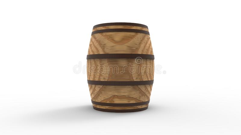 3d rendering of a wooden barrel isolated in studio background stock illustration