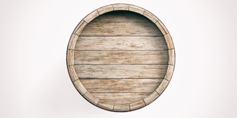 3d rendering wooden barrel on white background royalty free illustration