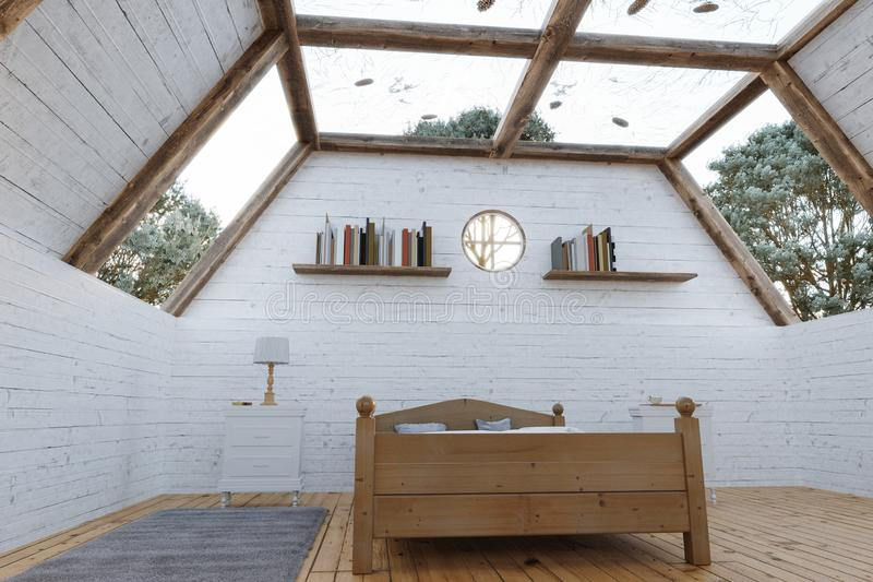 3d rendering of wooden bedroom with panoramic roof in a cabin house royalty free stock photo