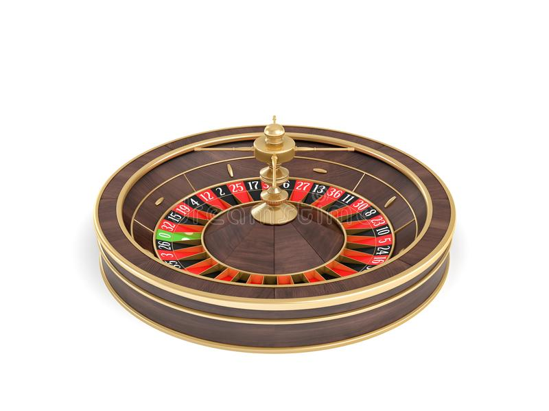 3d rendering of a wooden casino roulette with golden decorations standing in front view on a white background. Life and risk. Play in casino. Win or lose royalty free illustration