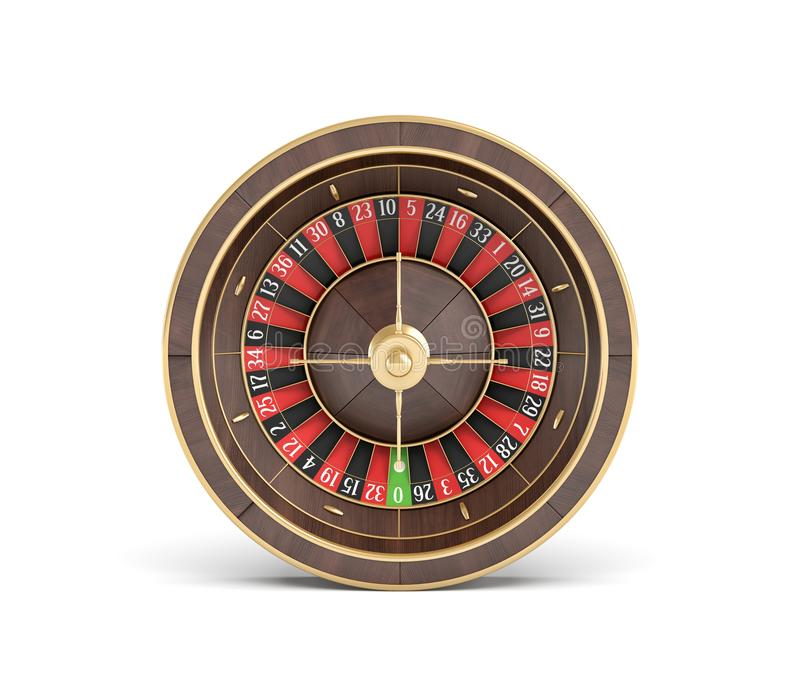 3d rendering of an wooden casino roulette with golden decorations on white background. Casino games. Winning chance. Black or red betting vector illustration
