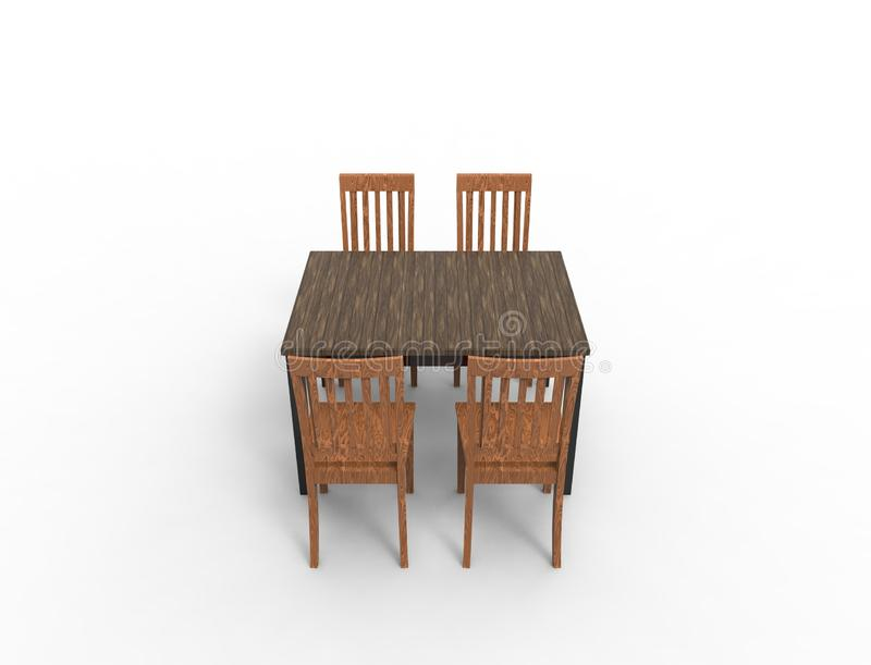 3D rendering of a wooden dinner table with 4 chairs vector illustration