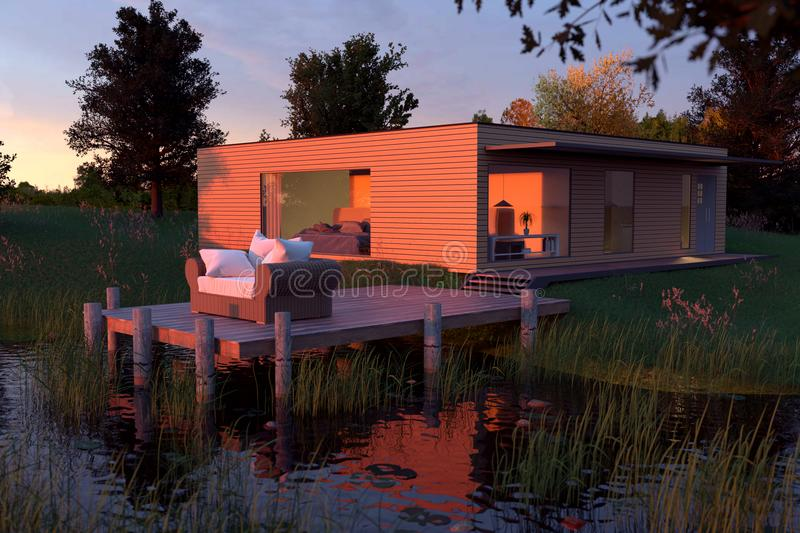 3d Rendering Of Wooden House With Flat Roof At Nature Near By Pond