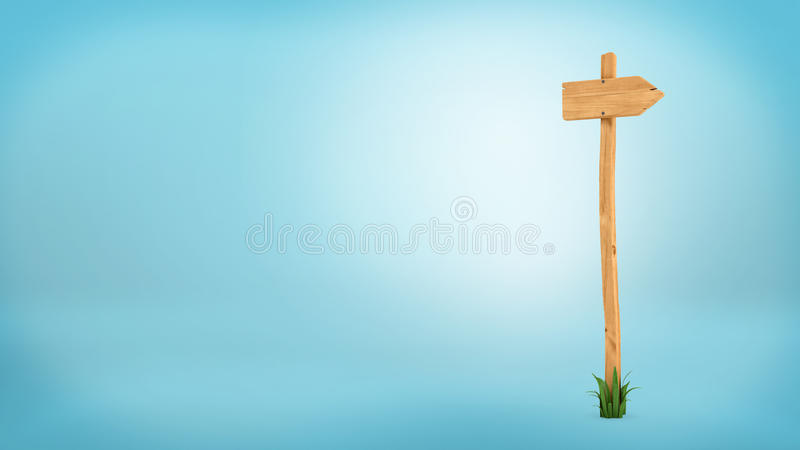 3d rendering of a wooden pole with some grass on it`s base and blank arrow on the top. Directional signs. Outdoor advertisement. Signposts and arrows stock illustration