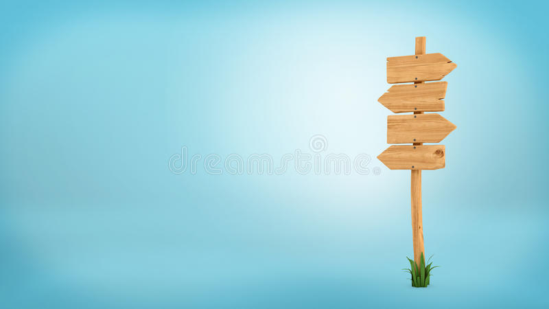 3d rendering of a wooden pole with some grass on it`s base and four blank arrows on the top. Directional signs. Outdoor advertisement. Signposts and arrows royalty free illustration