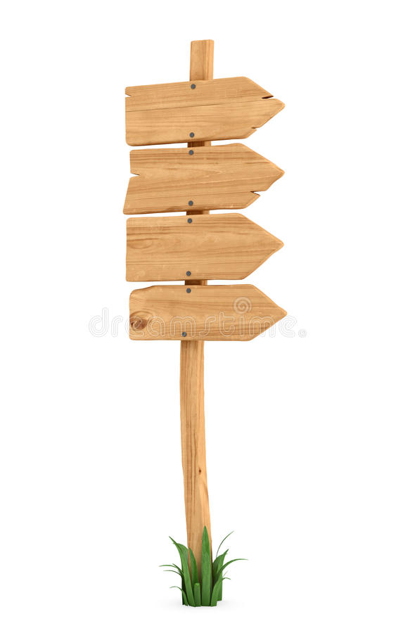 3d rendering of a wooden pole with some grass on it`s base and four blank arrows on the top. Directional signs. Outdoor advertisement. Signposts and arrows vector illustration
