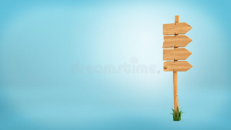 3d rendering of a wooden pole with some grass on it`s base. And four blank arrows on the top. Directional signs. Outdoor advertisement. Signposts and arrows royalty free illustration