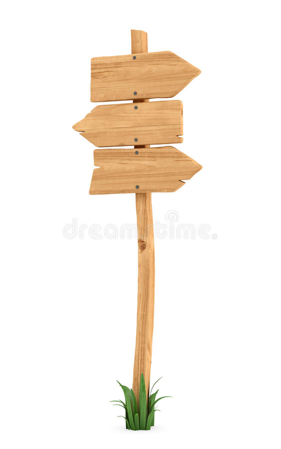 3d rendering of a wooden pole with some grass on it`s base and three arrows on the top. Directional signs. Outdoor advertisement. Signposts and arrows vector illustration