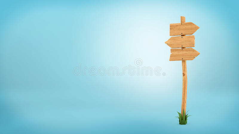 3d rendering of a wooden pole with some grass on it`s base and three blank arrows on the top. Directional signs. Outdoor advertisement. Signposts and arrows royalty free illustration