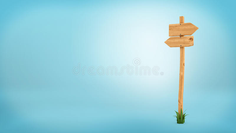 3d rendering of a wooden pole with some grass on it`s base and two blank arrows on the top. Directional signs. Outdoor advertisement. Signposts and arrows stock illustration
