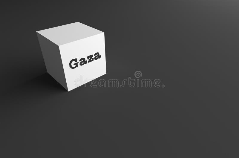 3D RENDERING WORD Gaza WRITTEN ON WHITE CUBE. WITH BLACK PLAIN BACKGROUND stock illustration
