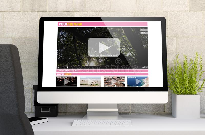 workspace with video streaming royalty free stock photography