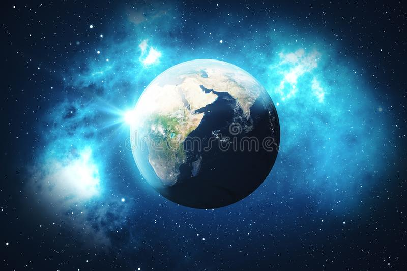 3D Rendering World Globe from Space in a Star Field Showing Night Sky With Stars and Nebula. View of Earth From Space. Elements of this image furnished by NASA royalty free illustration
