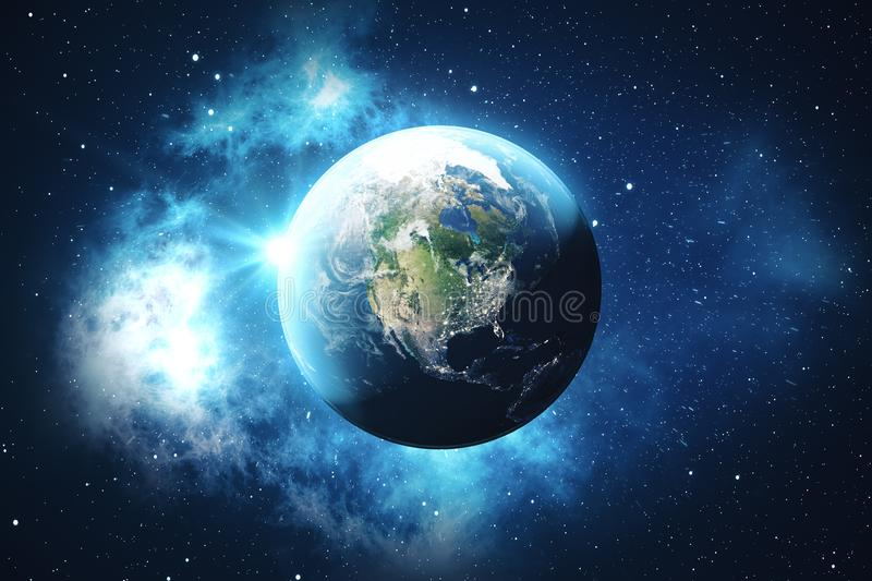 3D Rendering World Globe from Space in a Star Field Showing Night Sky With Stars and Nebula. View of Earth From Space. Elements of this image furnished by NASA vector illustration
