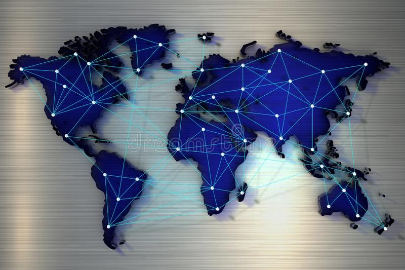 3d rendering World map connected by a network of rays. Close up stock illustration
