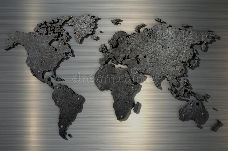 3d rendering World map of old scratched metal with rivets. Close up vector illustration