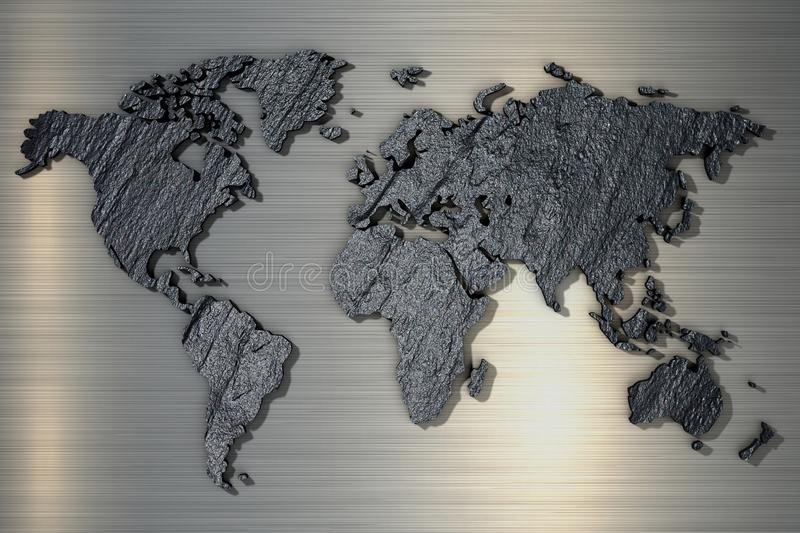 3d rendering World map of rough stone texture stock image
