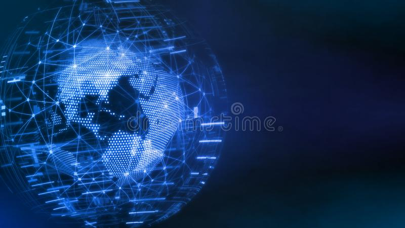 3D Rendering of world technology concept. Globe created from dots and lines for Global network connection, Corporate business royalty free stock photography