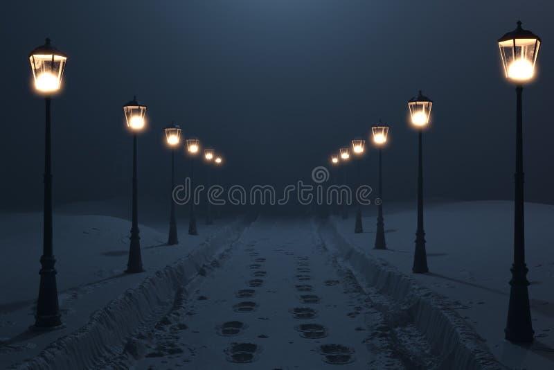 3d rendering wsi droga z śniegiem wlec przy nocą i latarniowy rząd royalty ilustracja