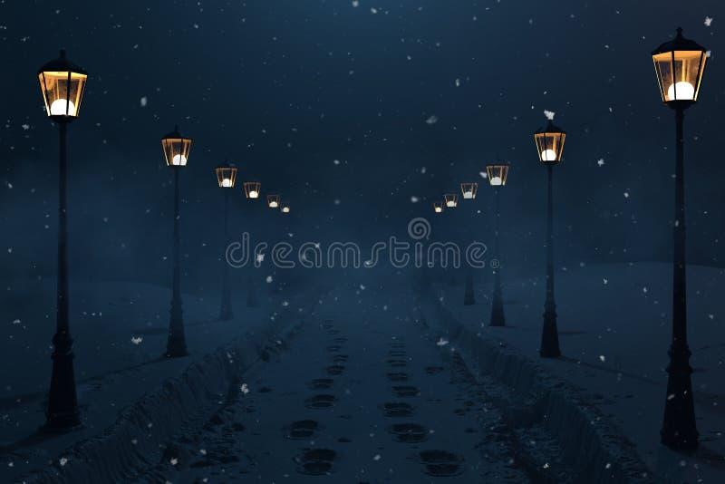 3d rendering wsi droga z śniegiem wlec przy nocą i latarniowy rząd obraz stock