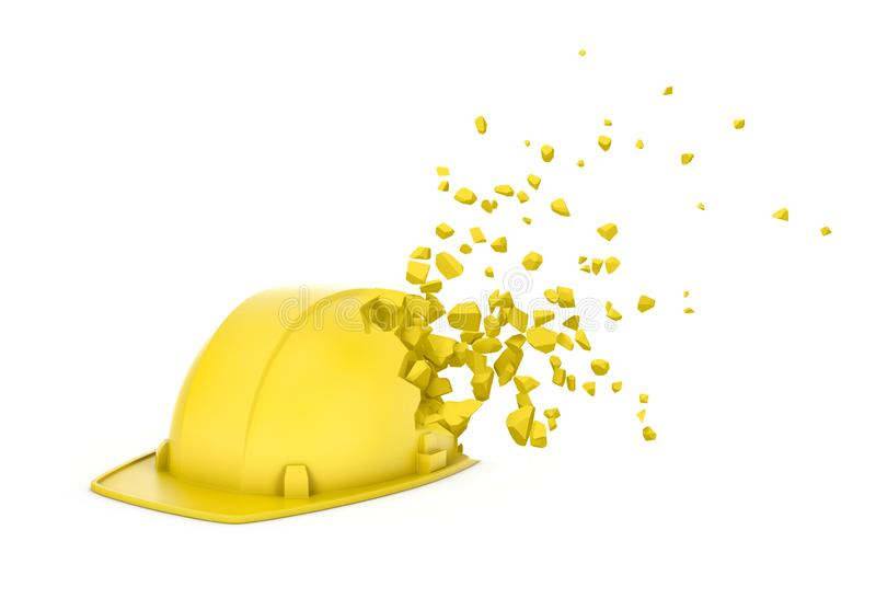 3d rendering of yellow hard hat starting to dissolve into particles and disappear isolated on white background. Construction site safety. Transformation royalty free stock images