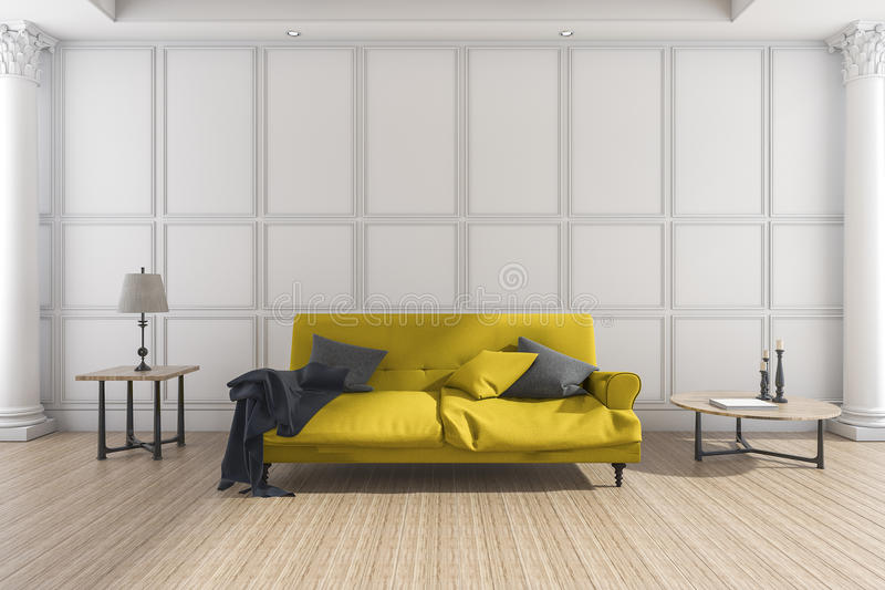 3d Rendering Yellow Soft Sofa In Classic Living Room Stock ...