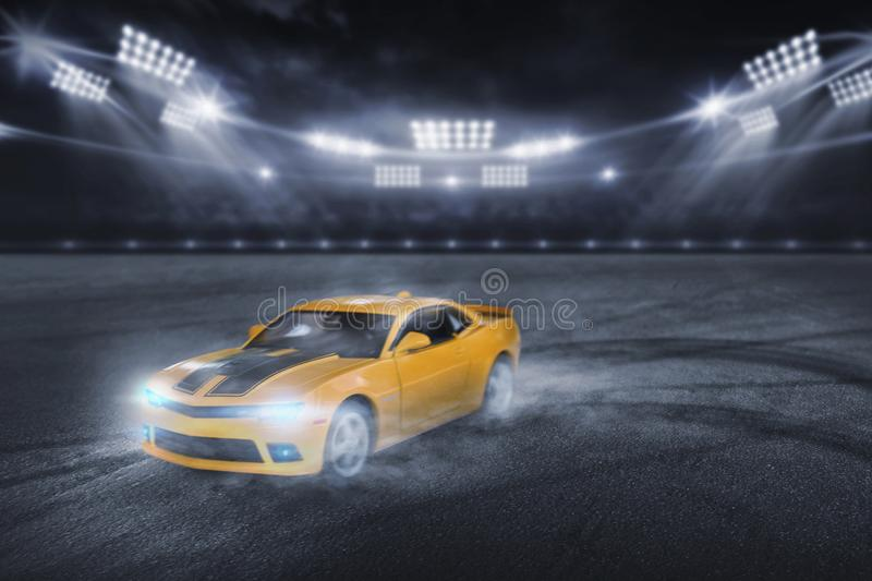 3D rendering the yellow sports racing car, Drift racer, Race car racing on speed stock image