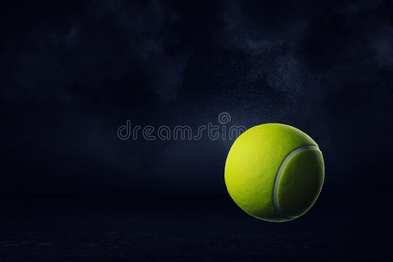 3d rendering of a yellow tennis ball on a dark background. royalty free stock photography