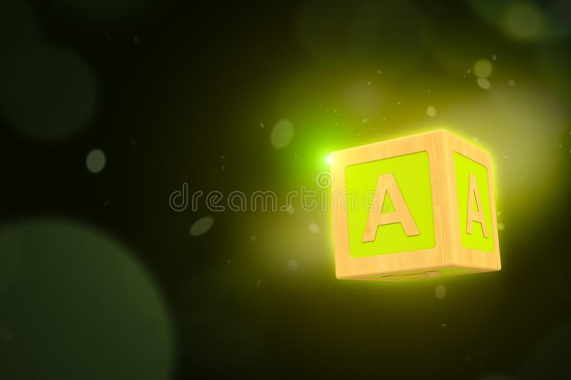3d rendering of yellow wooden alphabet toy block on dakr neon background royalty free stock image