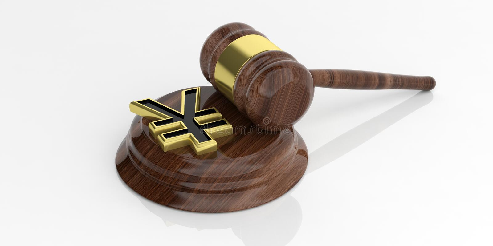 3d rendering yen yuan symbol and an auction gavel. 3d rendering golden yen yuan symbol and an auction gavel royalty free illustration