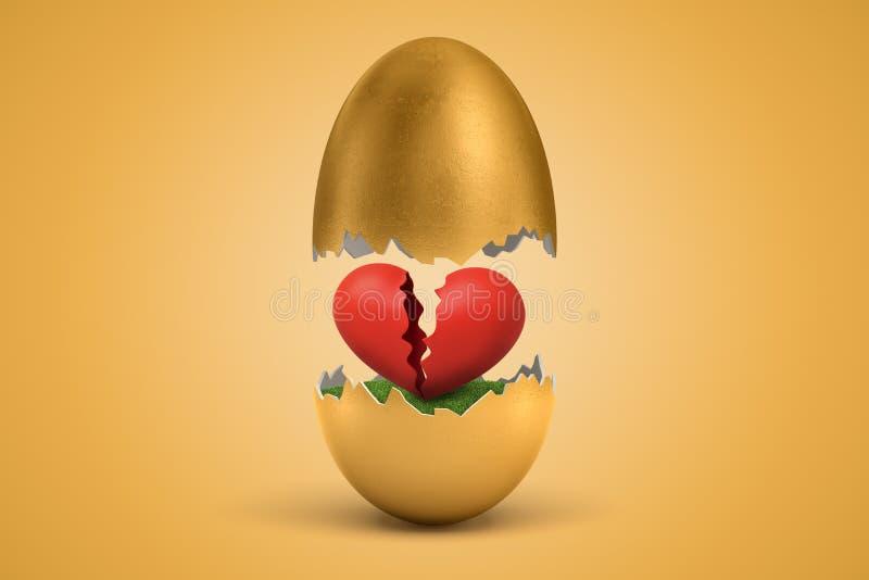3d rendering złocisty jajko pękał w dwa, obniża połówkę w powietrzu, z łamanym czerwonym sercem - połówka z zieloną trawą wśrodku obraz royalty free