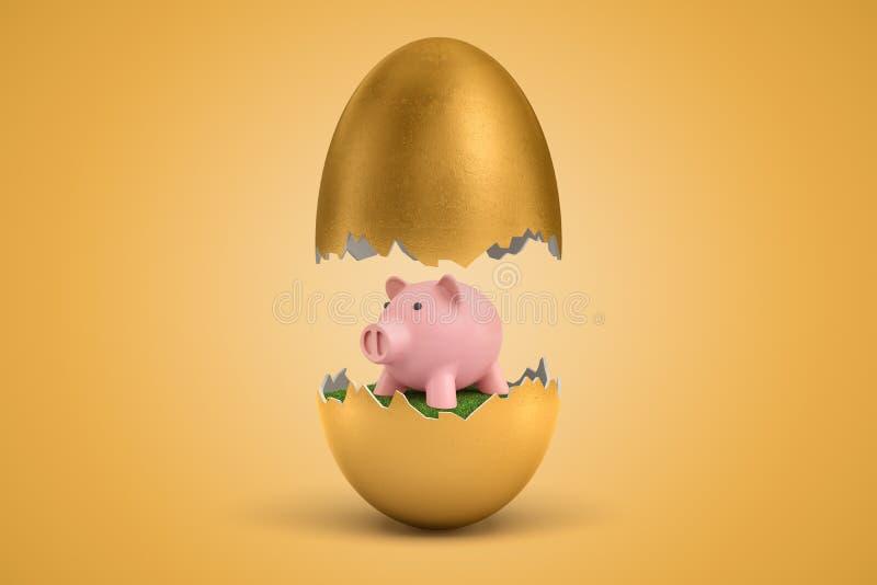 3d rendering z?ocisty jajko p?ka? w dwa, wierzch - po??wka levitating w powietrzu, ma?a ?liczna r??owa prosi?tko banka pozycja na ilustracja wektor