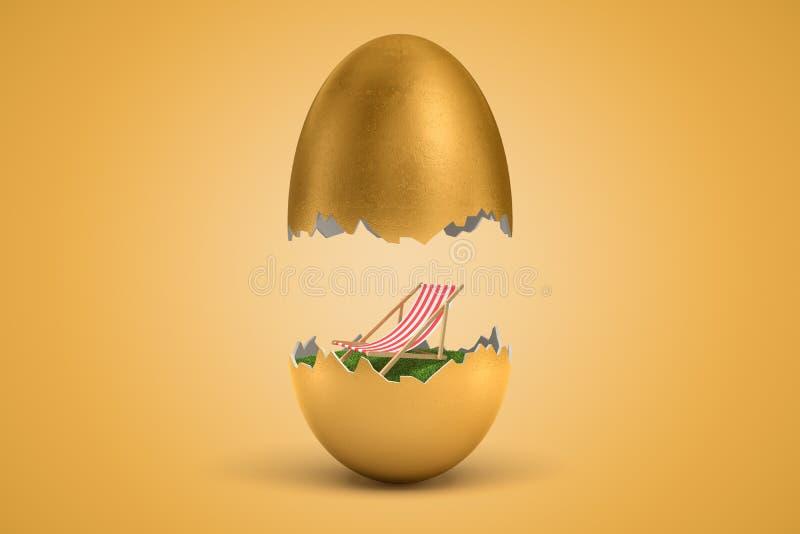 3d rendering złocisty jajko pękał w dwa, wierzch - połówka levitating w powietrzu, mała pokładu krzesła pozycja na zielonej trawi fotografia stock
