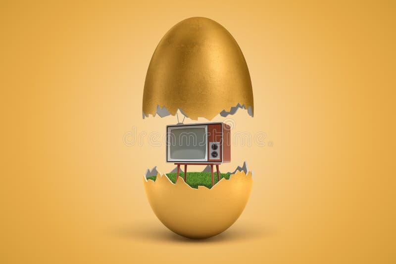 3d rendering złocisty jajko pękał w dwa, wierzch - połówka levitating w powietrzu, retro telewizor pozycja na zielonej trawie wśr royalty ilustracja