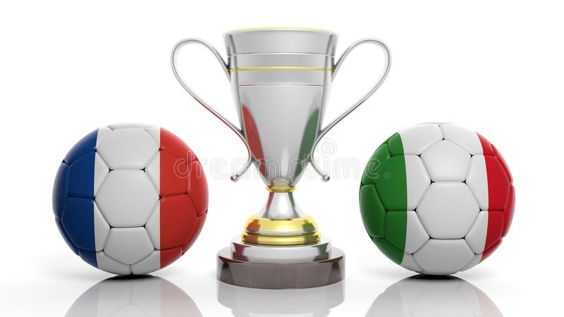 3d rendering Złota Srebna piłki nożnej piłka i trofeum ilustracja wektor