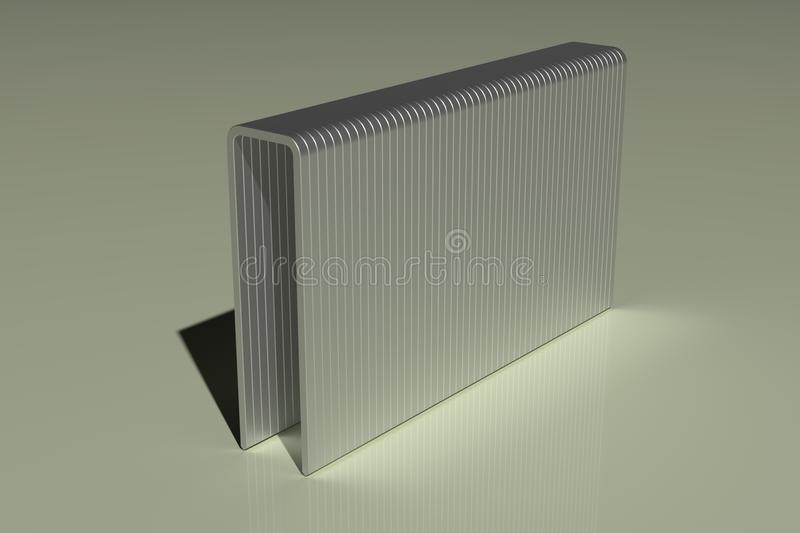 A 3d rendering of an Z Type Staple, made of steel royalty free illustration